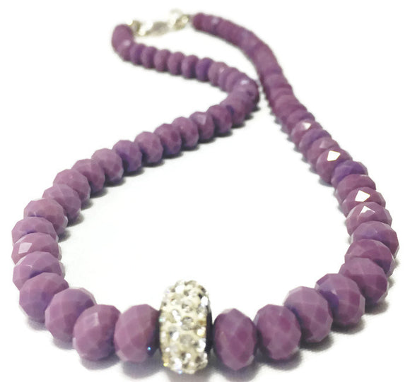 Handmade Crystal Lavender Necklace for Women with Shiny Rhinestone Accent