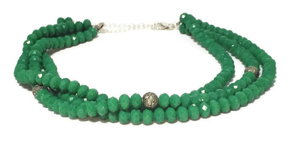 Multi Strand Green Crystal Statement Necklace
