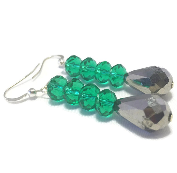 Green Gray Crystal Sterling Silver Earrings, Bridal Wedding Jewelry