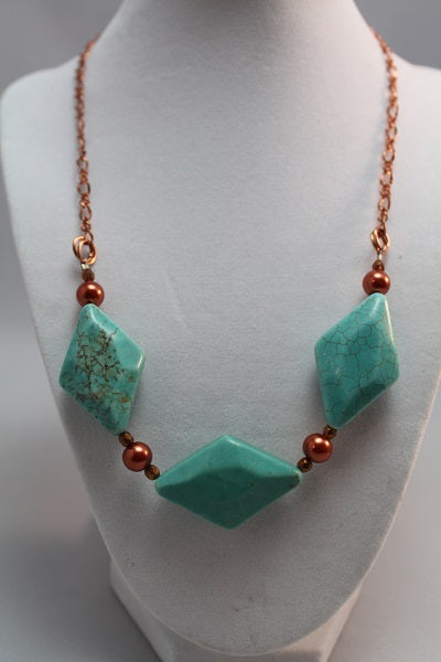 Green Turquoise December Birthstone Necklace,