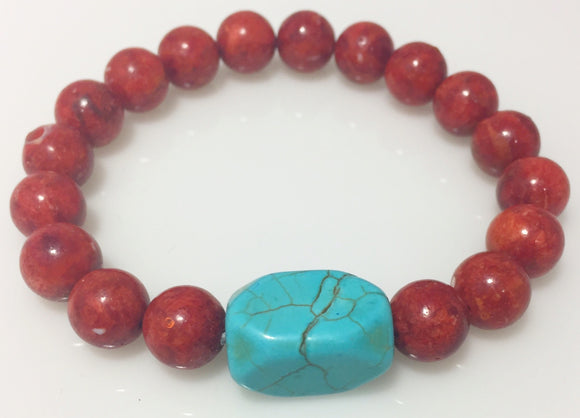 Red Coral Turquoise Stretch Bracelet