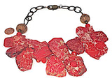 Clustered Red Jasper Necklace with Brass Chain