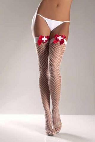 Lycra Industrial Fishnet Thigh High With Cross On Bow