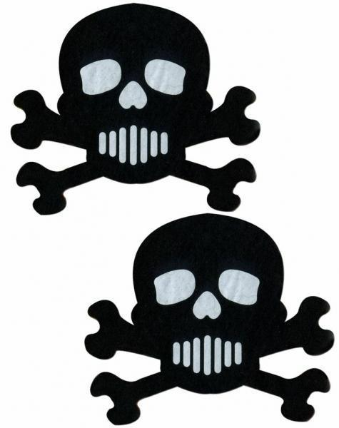 Skull Crossbones Black White Pasties O-S