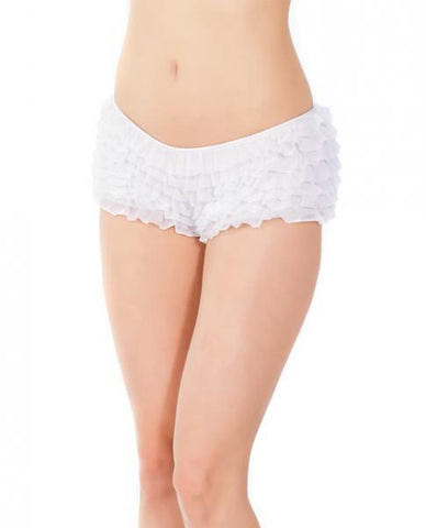 Ruffle Shorts Back Bow Detail White OS-XL