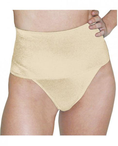 Rago Shapewear Wide Band Thong Shaper Beige Md
