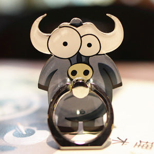 Cell Phone Finger Ring Holder Cute Animal 360 Swivel Smartphone Stand (Buffalo)