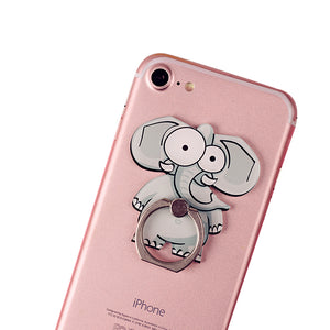 Cell Phone Finger Ring Holder Cute Animal 360 Swivel Smartphone Stand (Elephant)