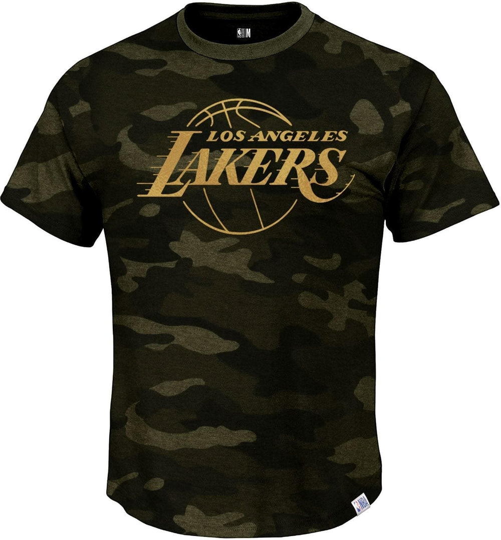 NBA Los Angeles Lakers Olive Camoflauge Round Neck T-Shirt