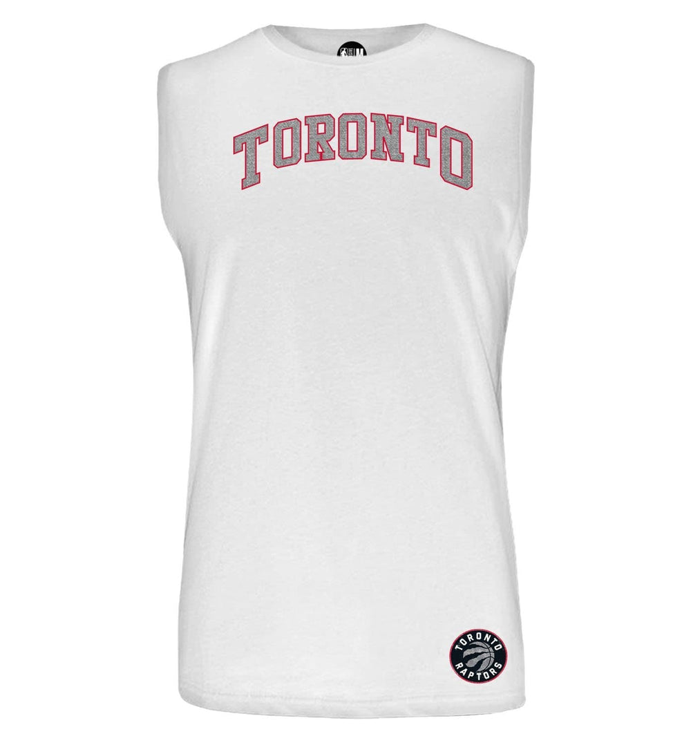 NBA Toronto Raptors White Printed Sleeveless T-Shirt
