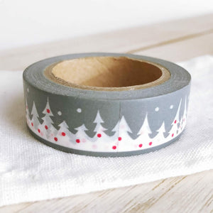 Christmas Washi Tape, Winter Wonderland, Red Snowing Tree