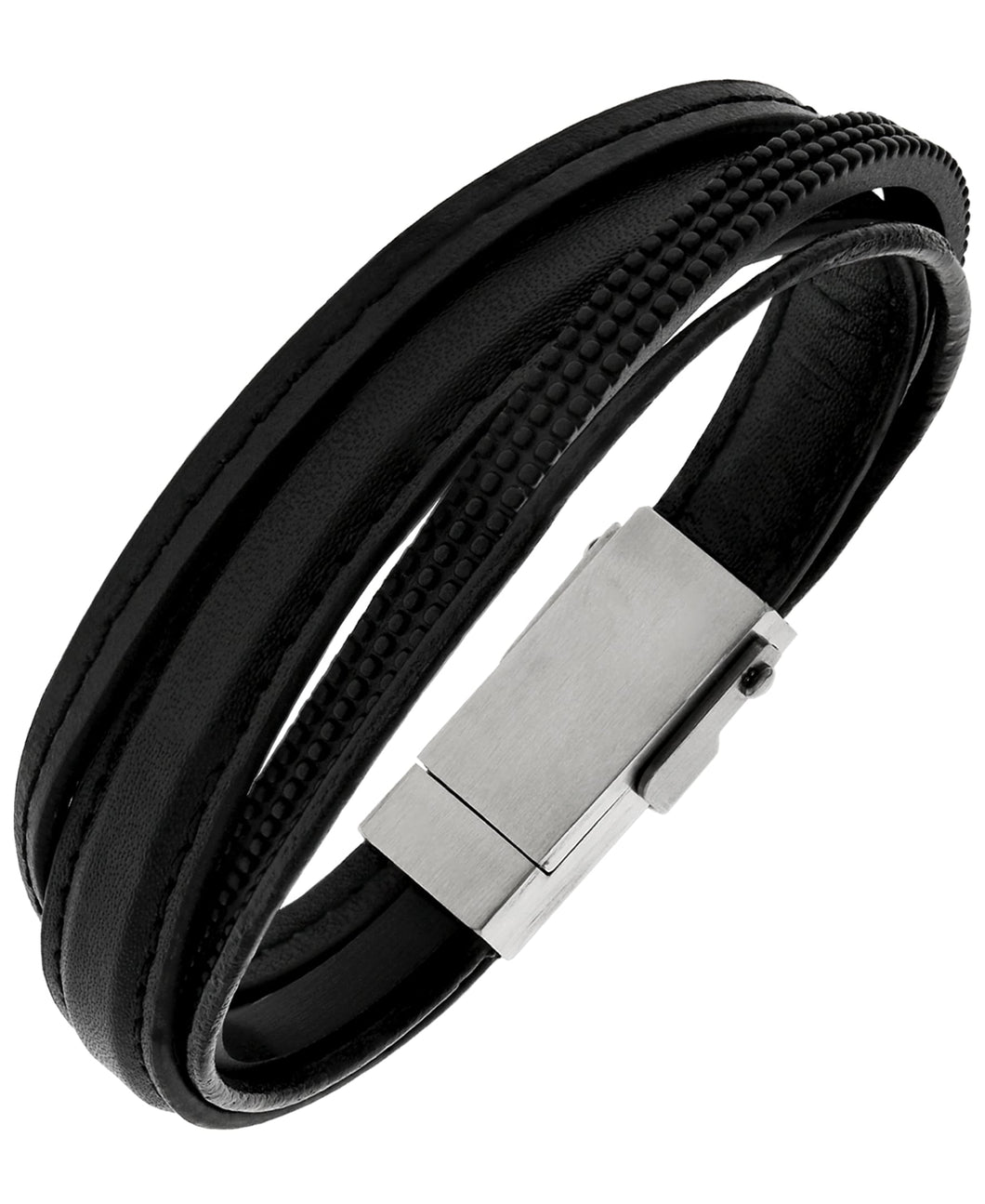 Sutton Multi-Strand Leather and Lightening Cable Bracelet with USB Clasp
