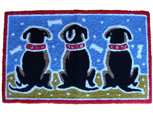 Three Sitting Dogs Rug - Polly Tadpole