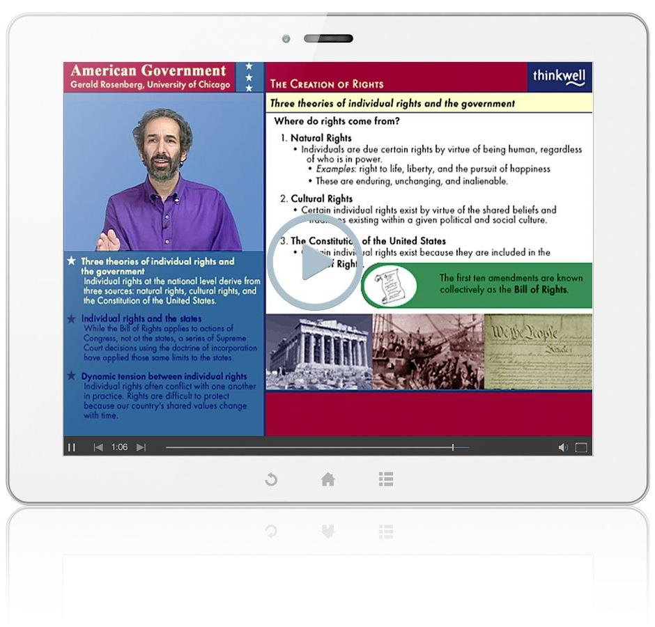 Thinkwell's American Government with Professors Gerald Rosenberg, Matthew Dickinson & Mark Rom Video Screenshot