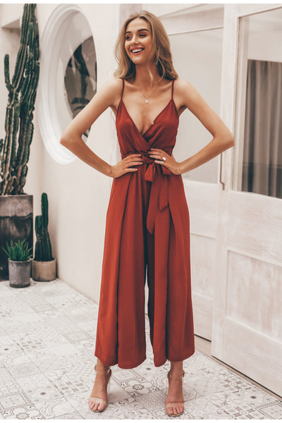 Women V-neck split spaghetti strap long  jumpsuit