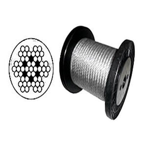 "7 x 7 Clear PVC Galvanized Aircraft Cable Wire Rope 1/8"" to 3/16""  - 500 ft"