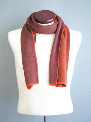 HERRINGBONE CASHWOOL SCARF - REVERSIBLE - ORANGE - Cochic - Free shipping
