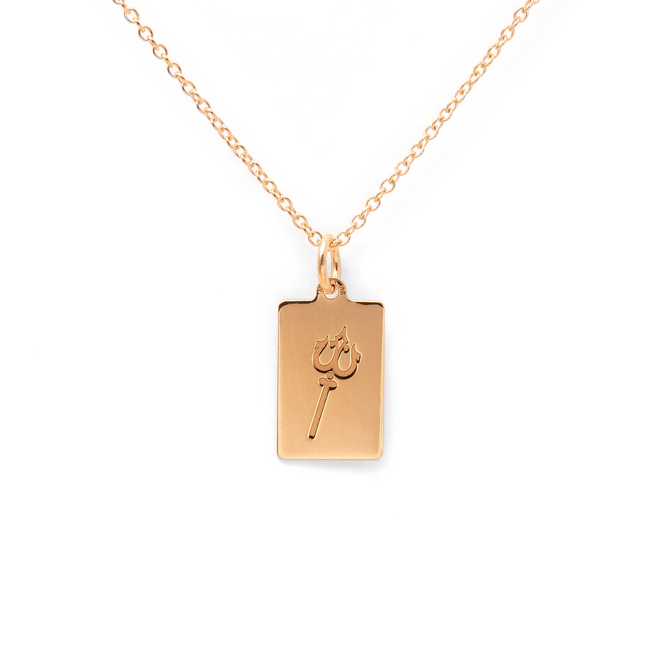 Poseidon Trident Tag Necklace