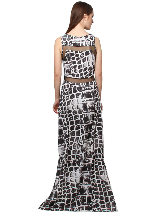 XnY  printed mesh insert maxi dress
