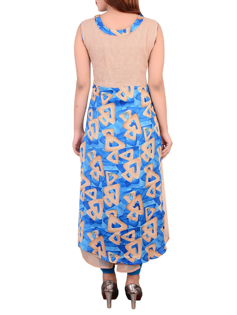 Blue georgette layered kurta
