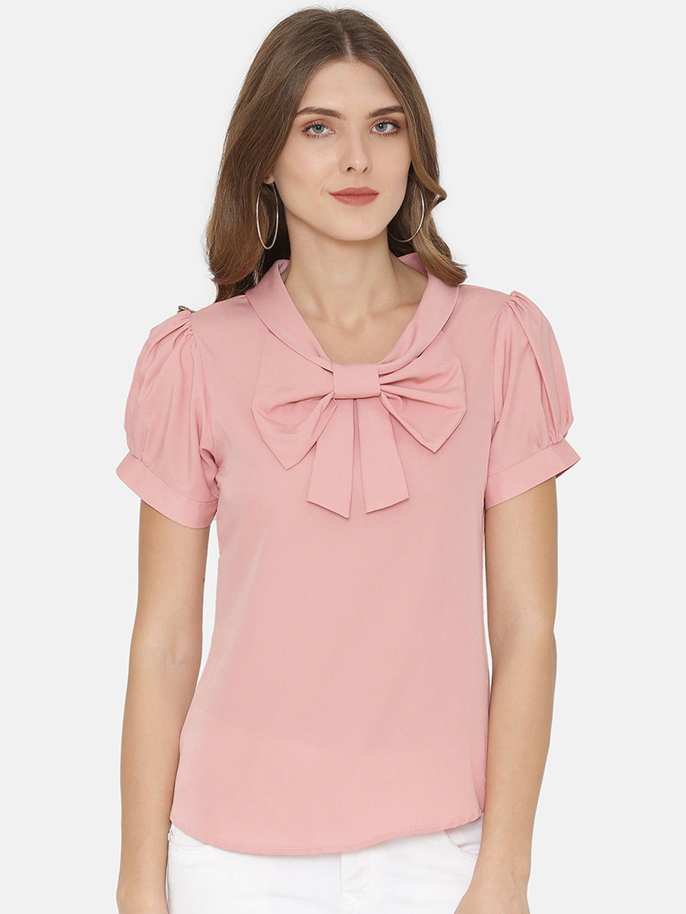 eyelet Women Pink Solid Top