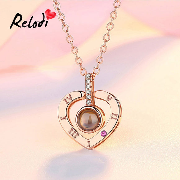 Relodi I Love You 100 Language Pendant Necklace Heart Shape Necklace Valentines Day