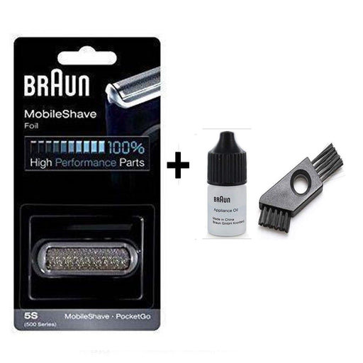 Braun Series 5 5S Shaver Replacement Foil and Cutter Pack with Braun Oil and Cleaning Brush - Nieboo