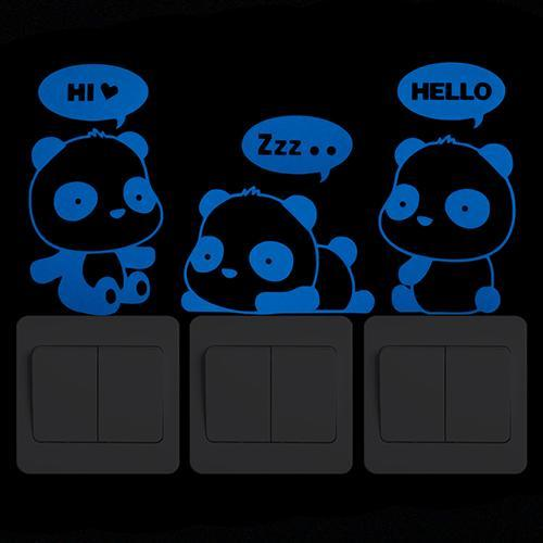 Luminous Sticker - Beautiful Panda Cartoon - Wanddecoratie met lichtgevende stickers - Glow In The Dark Muurstickers - Muurstickers