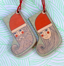 Wooden Mr Santa Stocking decoration