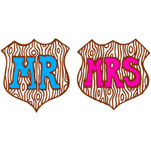 Mr & Mrs wooden shield Brooches
