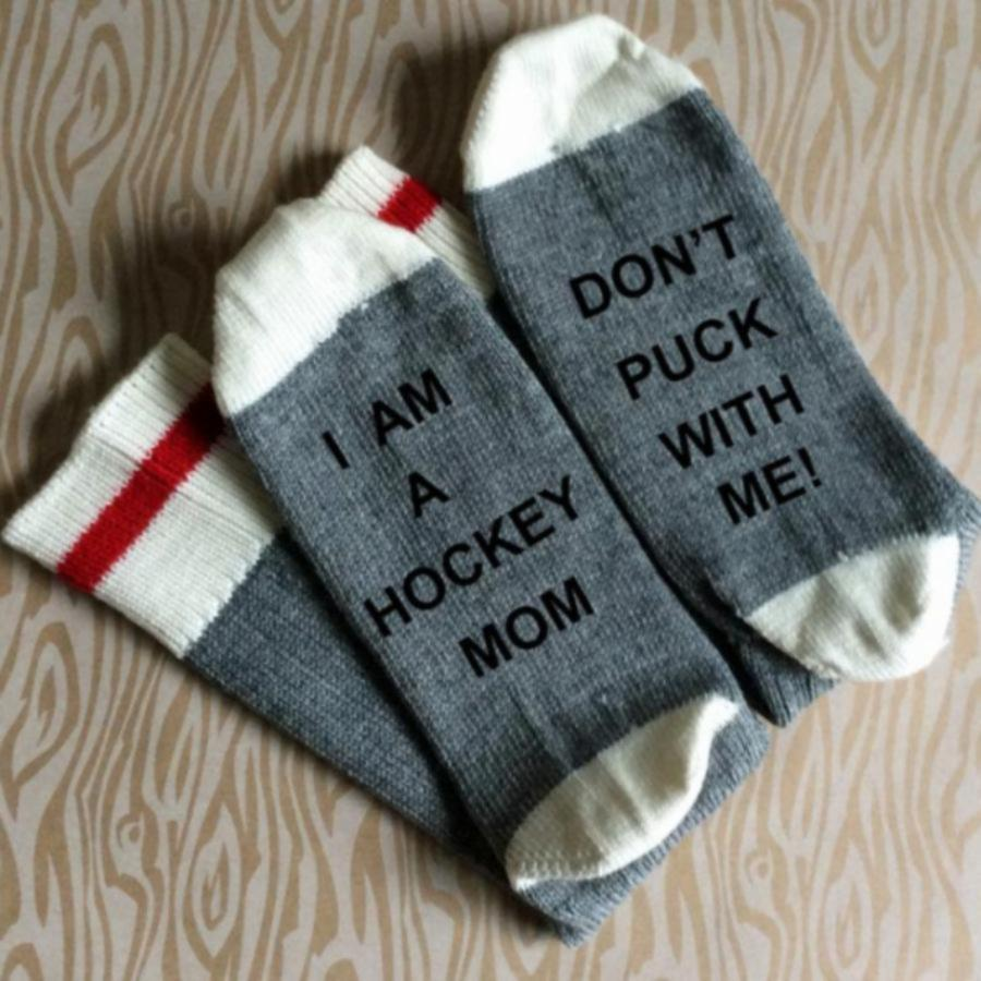 I am a Hockey Mom Don't Puck with Me Merino Wool Socks