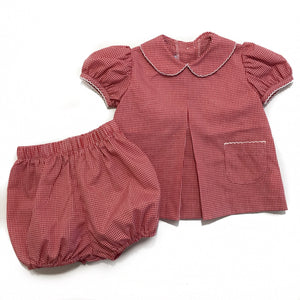 Girl Pleat Front Bloomer Set Red Gingham