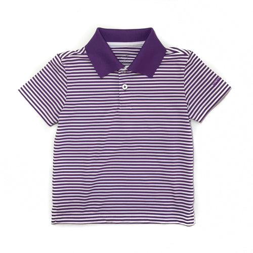 Properly Tied Purple Stripe Gameday Polo