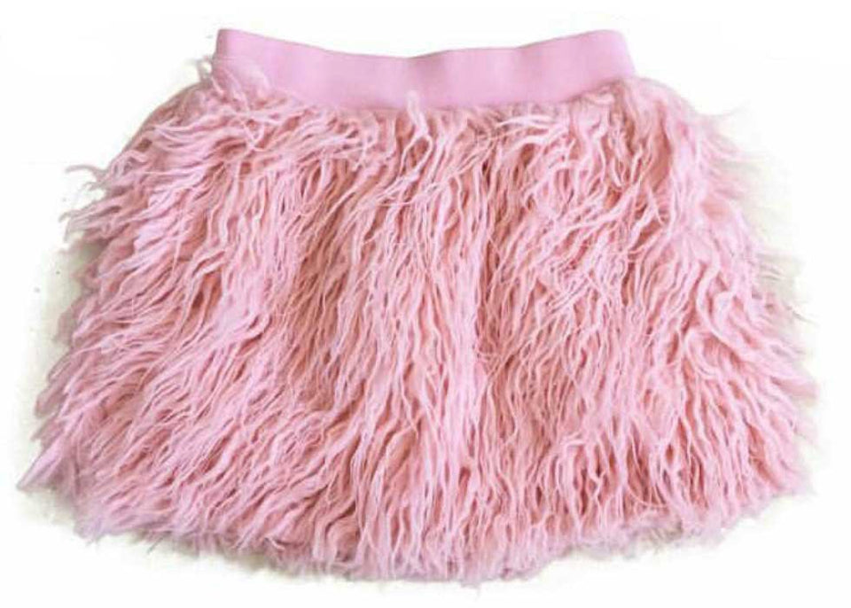 Pink faux fur  party skirt