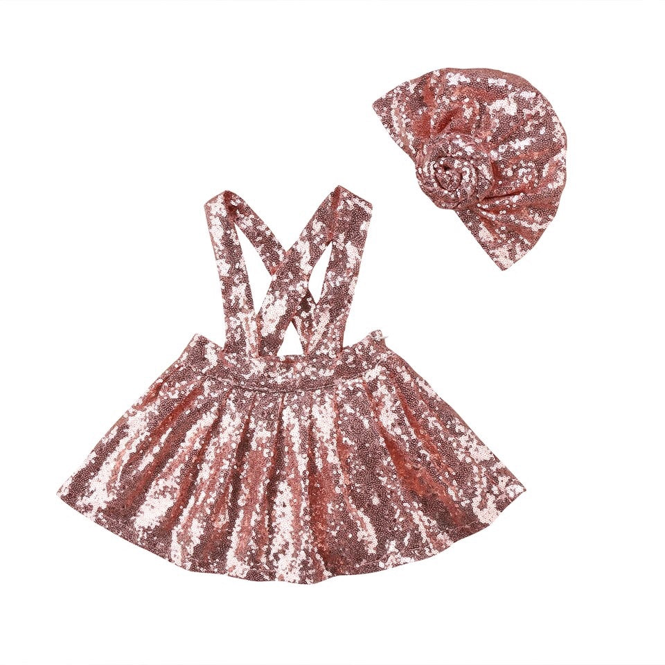 Pink sequin skirt set - skirt and hat