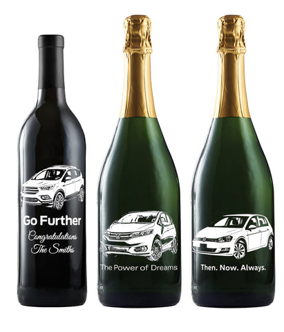 Custom Etched Wine Gift for Car Buyers