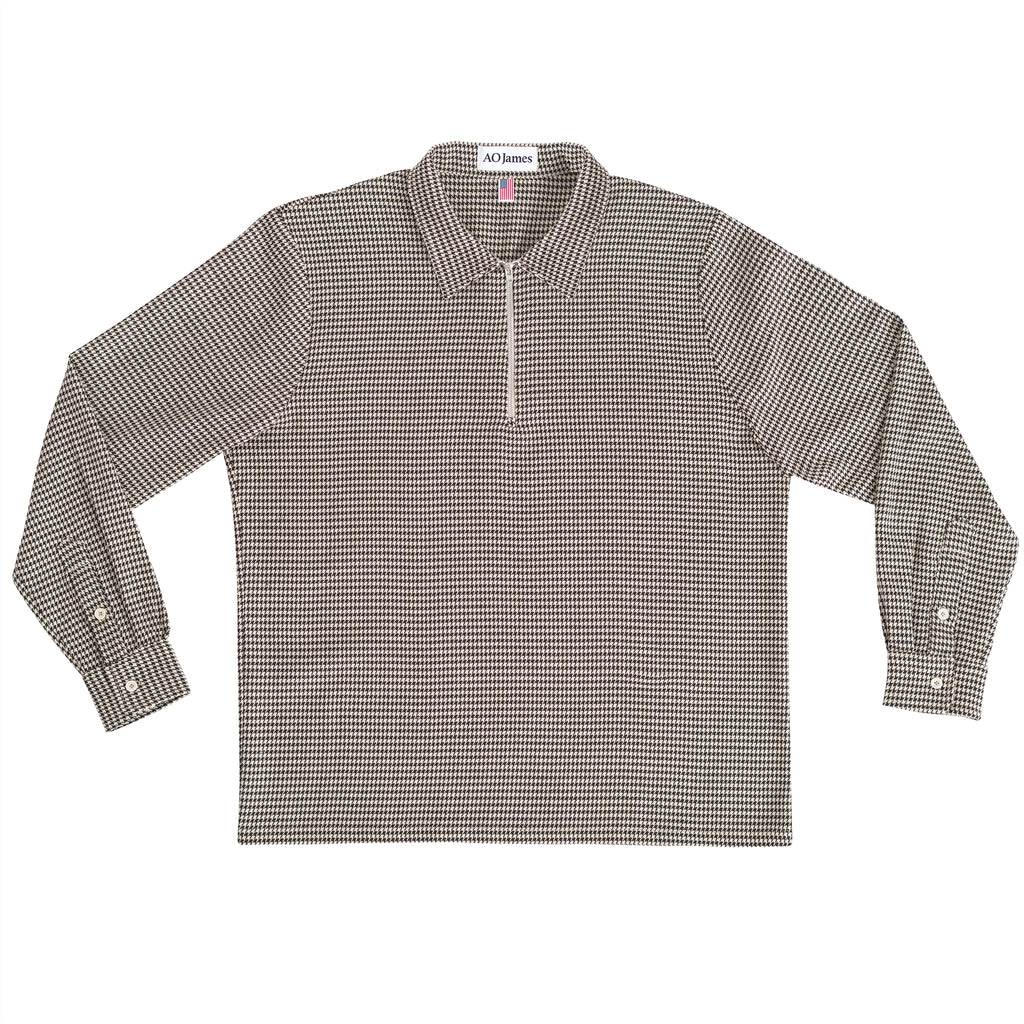 Zip Polo L/S - Houndstooth
