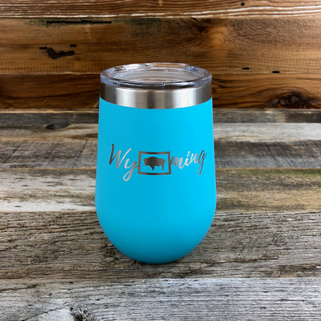 Wyoming Wine Tumbler- Ocean Blue