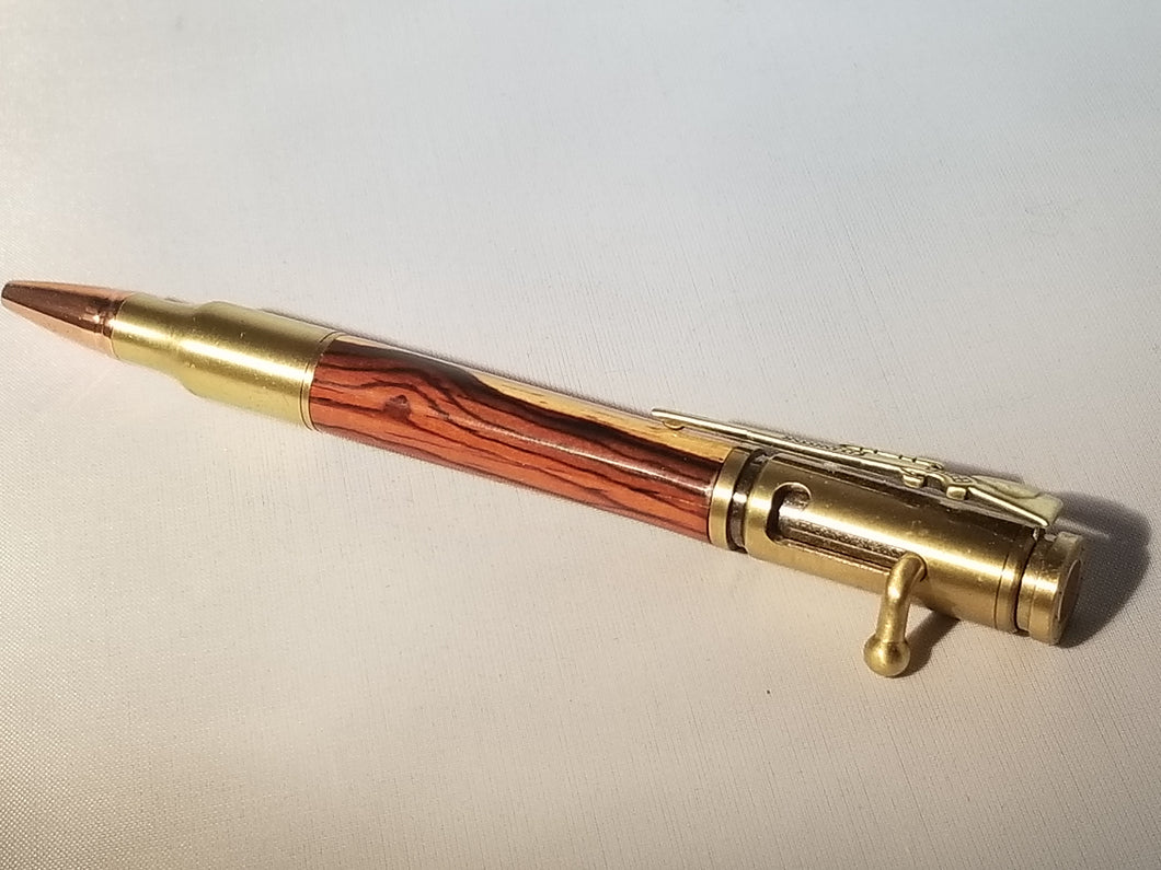 Bolt Action Pen in Antique Brass and Cocobolo 1 - Hudson Woodworking