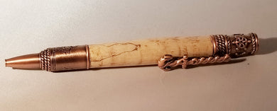 Nautical Twist Pen in Antique Brass and Spalted Maple - Hudson Woodworking