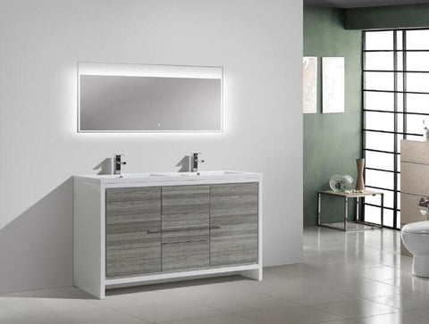 Image of Moreno Bath Dolce 58.75 Inch High Gloss Ash Gray Modern Vanity with Reinforced Double Acrylic Sinks
