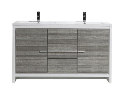 Moreno Bath Dolce 58.75 Inch High Gloss Ash Gray Modern Vanity with Reinforced Double Acrylic Sinks