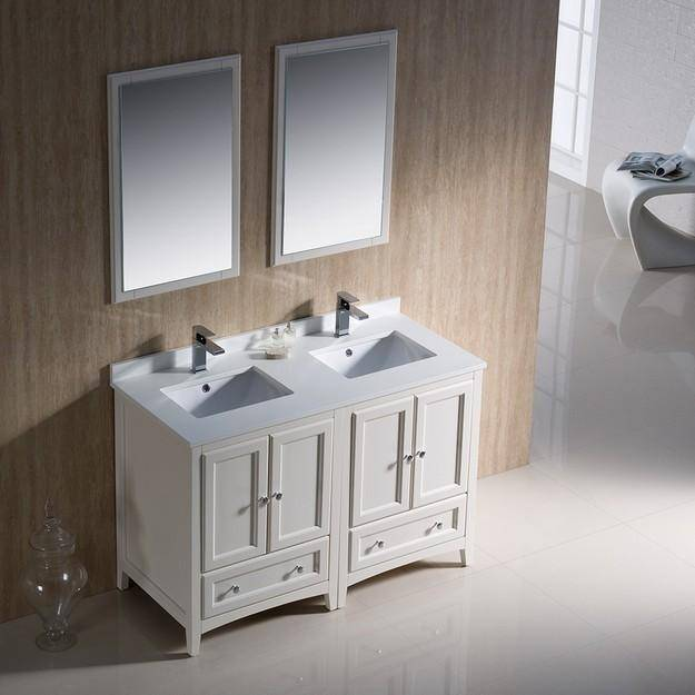 "Fresca Oxford 48"" Antique White Traditional Double Sink Bathroom Vanity"