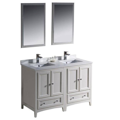 "Image of Fresca Oxford 48"" Antique White Traditional Double Sink Bathroom Vanity"