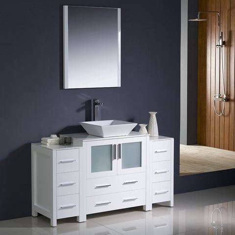 "Fresca Torino 54"" White Modern Bathroom Vanity w/ 2 Side Cabinets & Vessel Sink"