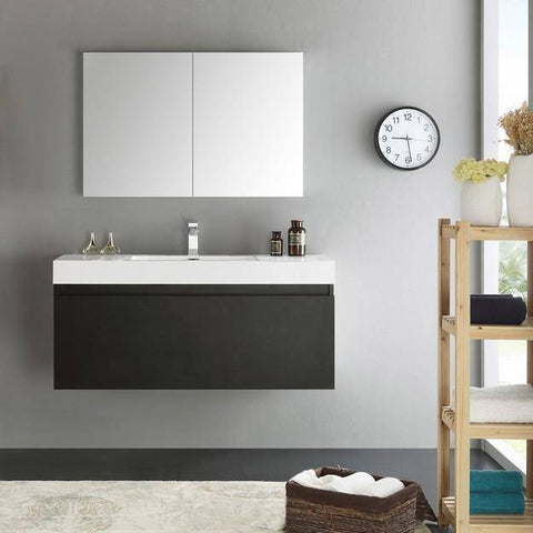 Image of Fresca Mezzo 47.3 Inch Black Wall Hung Modern Bathroom Vanity with Medicine Cabinet