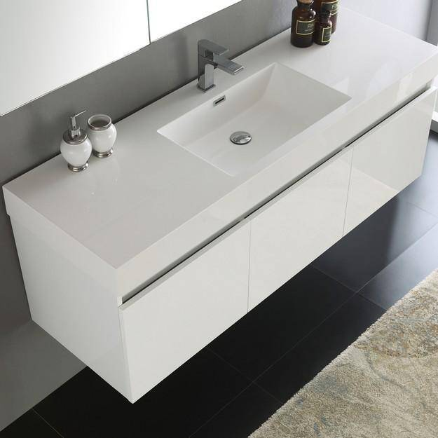 Fresca Mezzo 59 Inch White Wall Hung Single Sink Modern Bathroom Vanity with Medicine Cabinet
