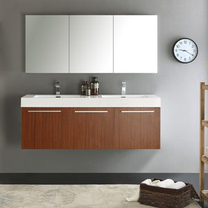 Fresca Vista 59 Inch Teak Wall Hung Double Sink Modern Bathroom Vanity with Medicine Cabinet