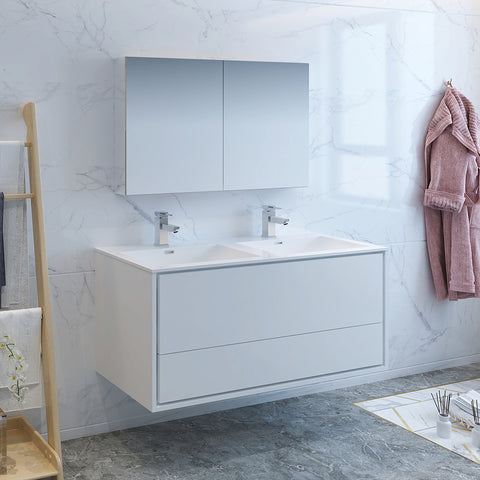 "Fresca Catania 48"" Glossy White Wall Hung Double Sink Modern Bathroom Vanity w/ Medicine Cabinet"