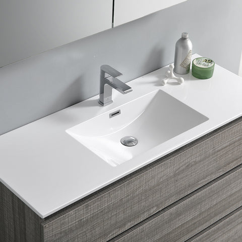 "Image of Fresca Lazzaro 48"" Glossy Ash Gray Free Standing Modern Bathroom Vanity w/ Medicine Cabinet"